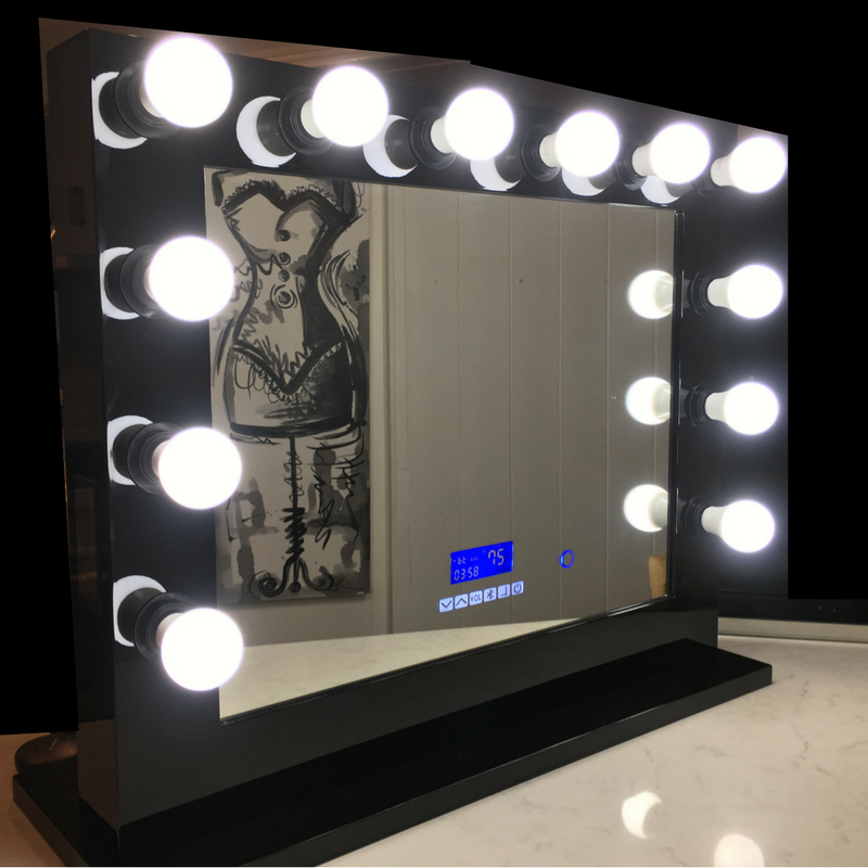 Hollywood Mirror Extra Large Black with Bluetooth Speakers, Sensor Dimmer,USB,Power Points-SAME DAY SHIPPING LIMITED STOCK