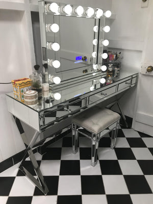 Vanity Station 2 pieces - Full Mirror Vanity Table with 3 drawers and Premium Bluetooth Mirror-NOVEMBER SHIPPING