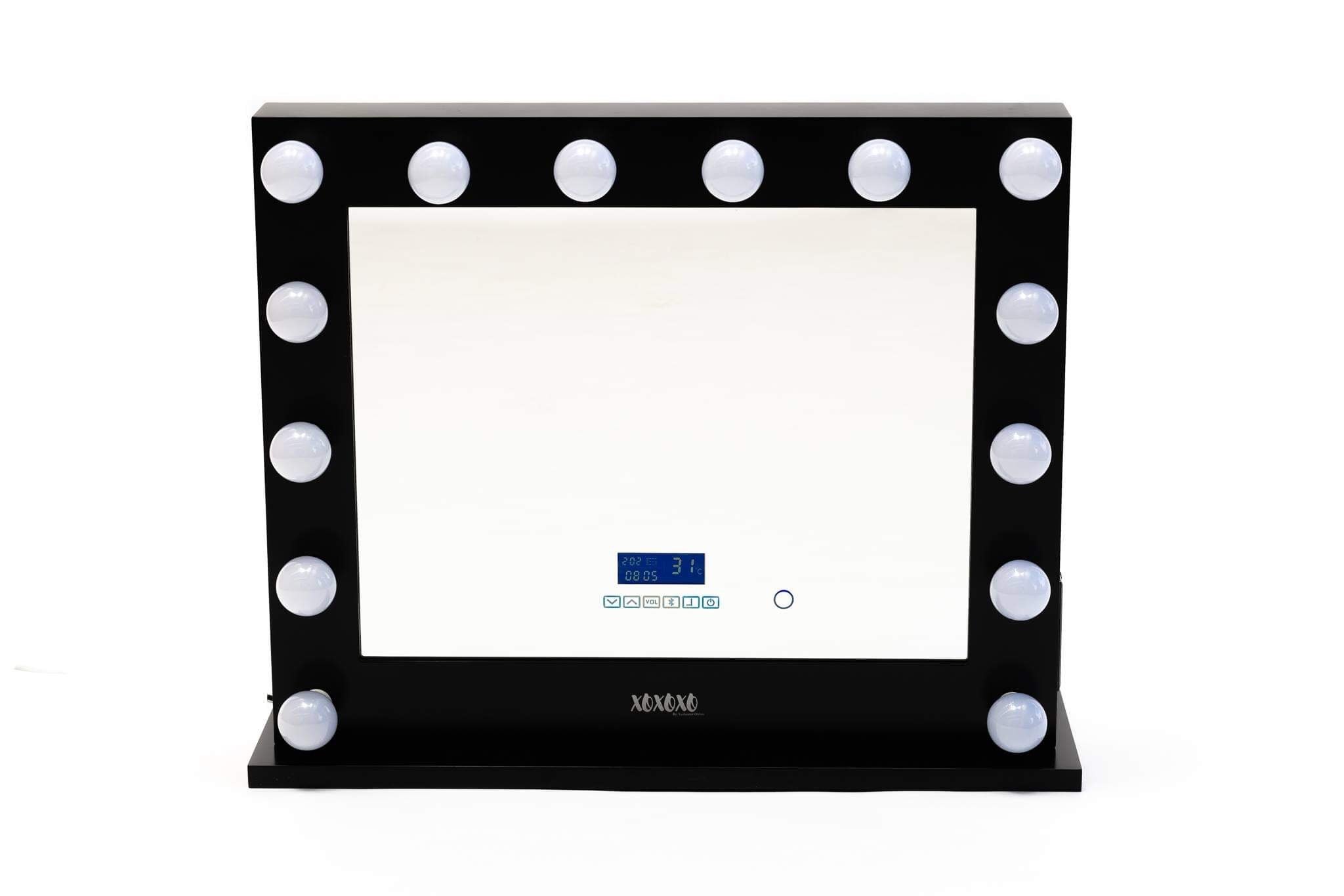 Hollywood Mirror Extra Large Black with Bluetooth Speakers, Sensor Dimmer,USB,Power Points