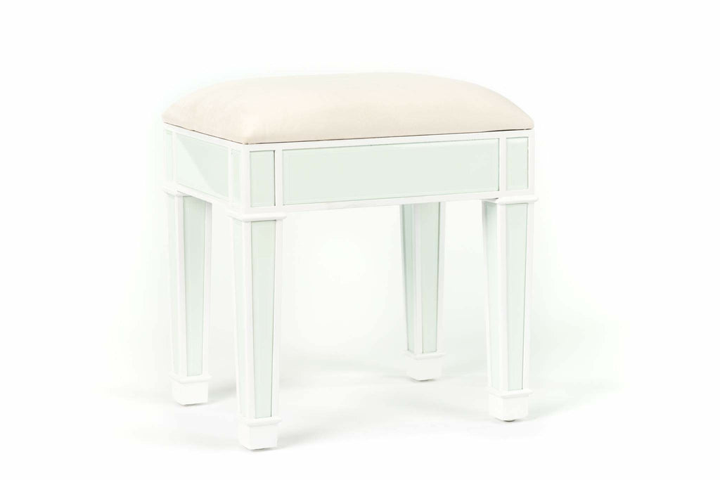 Vanity Stool White with Glass Inserts (Light Aqua)