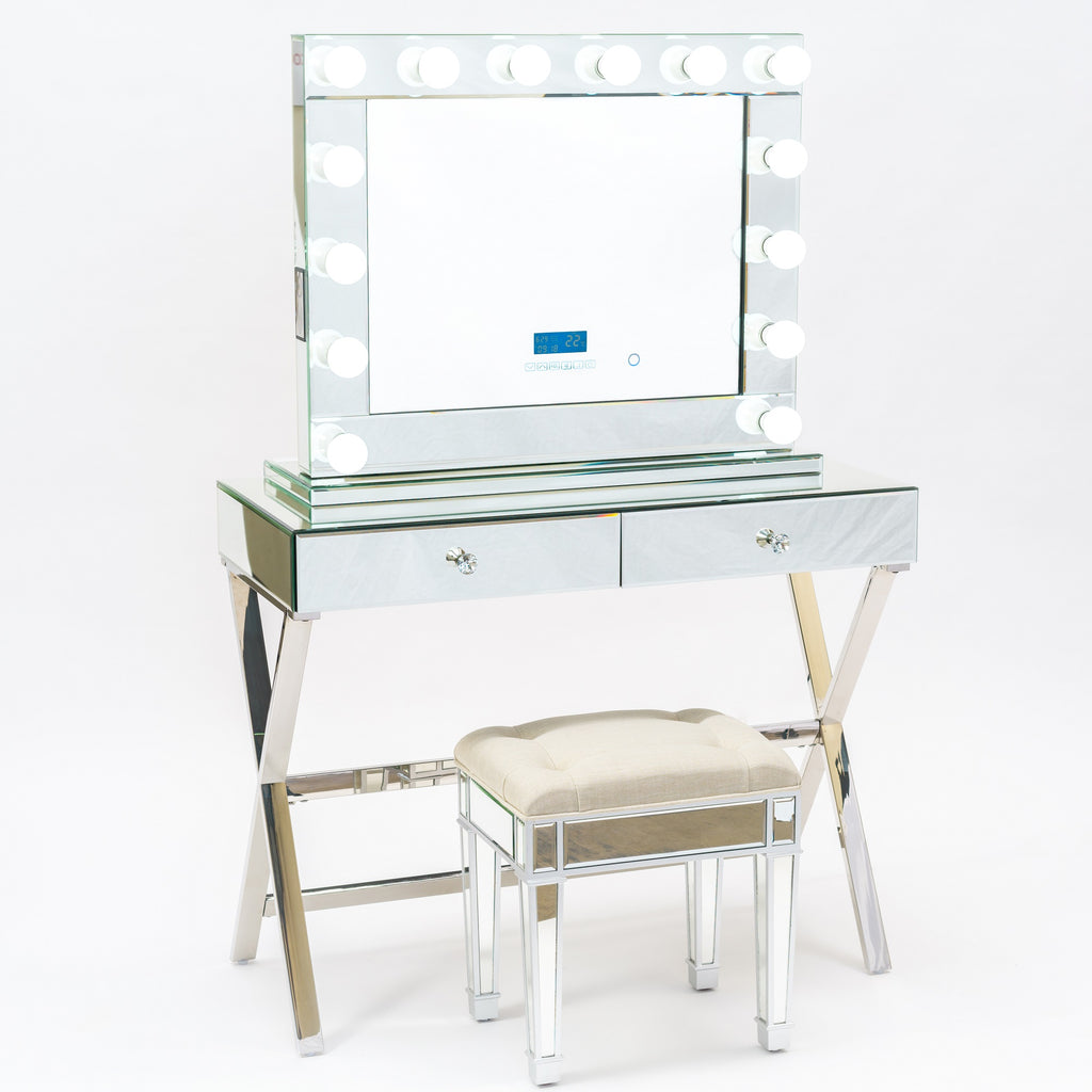 Vanity Station 2 Pieces - Full Mirror Finish Vanity Table with 2 drawers and Model 3 Bluetooth  Mirror-STOOL NOT INCLUDED-IN STOCK