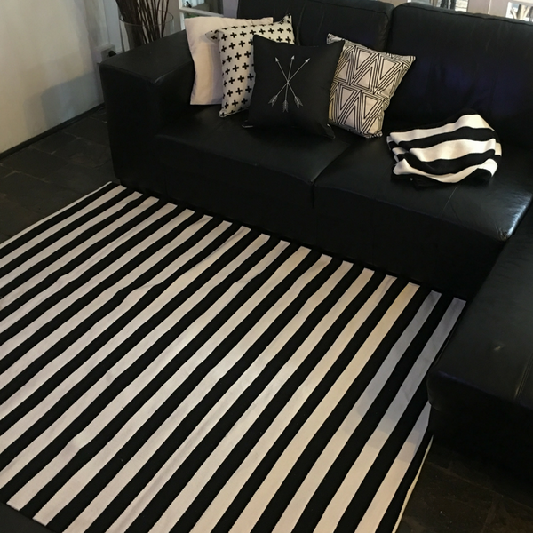 Vogue Black/ White Stripe Handmade 100% recycled cotton rug.