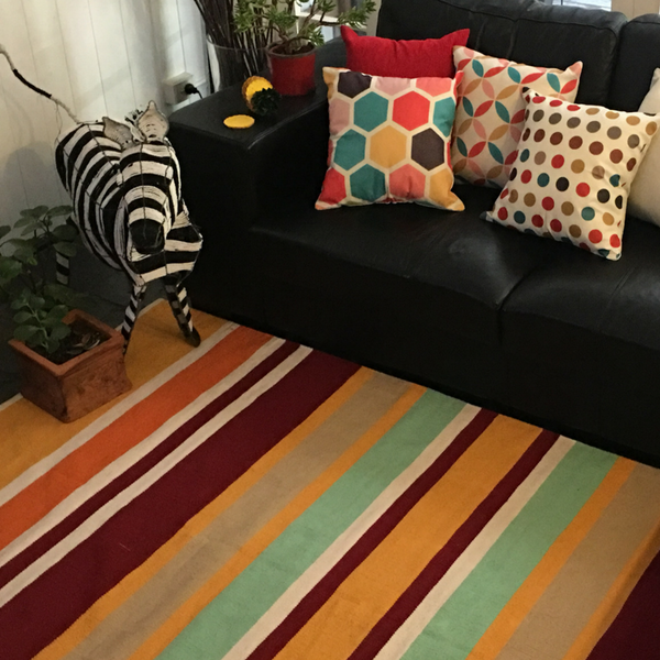 Zebra Multicolor Orange Striped  Handmade 100% recycled cotton rug.