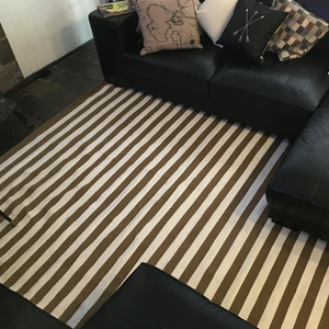 Vogue Striped Coco and Cream Handmade 100% recycled cotton rug.