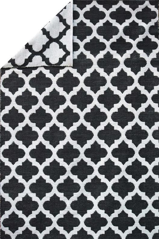Moroccan Trellis Black and White - Handcrafted Luxury Premium Outdoor Rug
