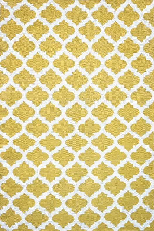 Moroccan Trellis Saffron and White - Handcrafted Luxury Premium Outdoor Rug