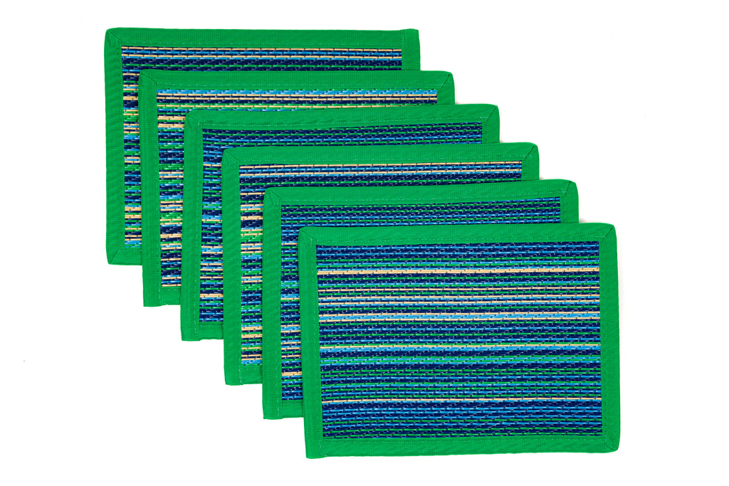 Outdoor Placemats 6 Pieces - Mexicali Aqua