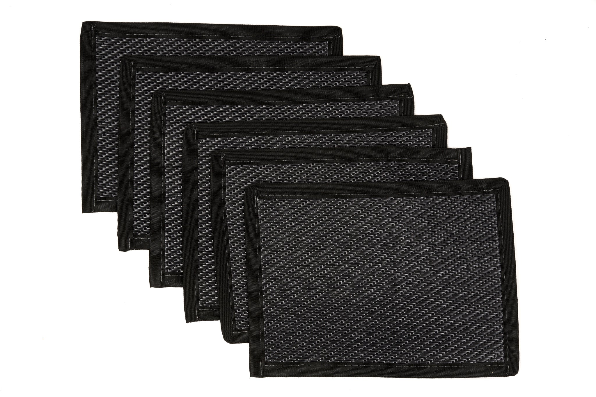 Outdoor Plastic Placemats 6 Pieces - Black