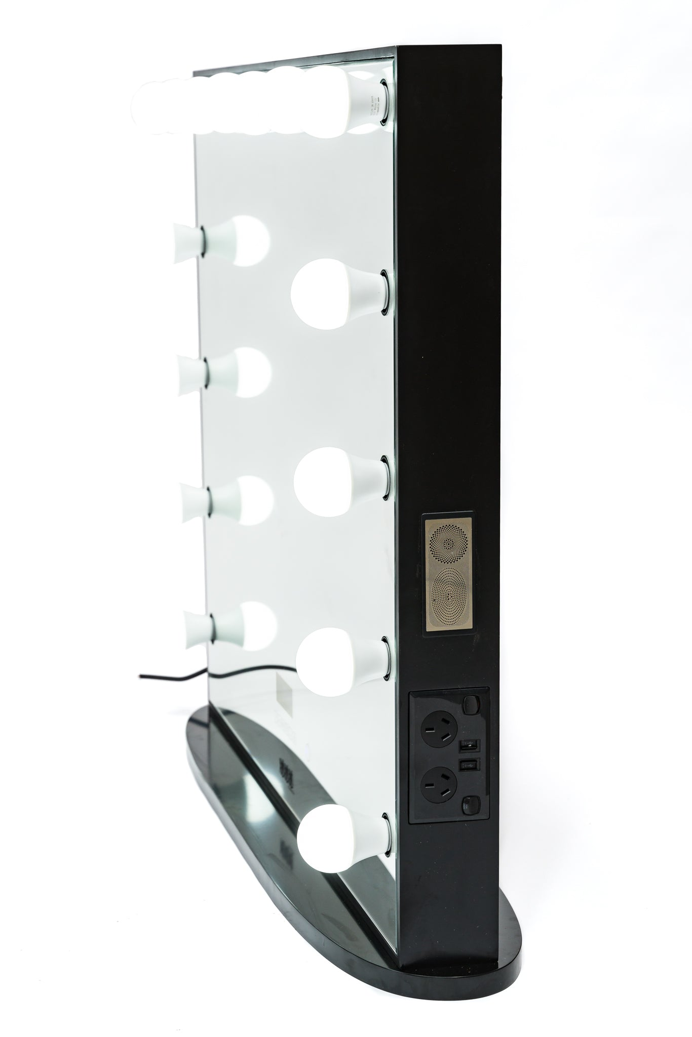 Hollywood Mirror Black HUGE SIZE XXXL with Bluetooth Speakers, Sensor Dimmer, USB,Power Points