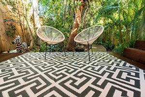 Outdoor Rug - Luxe Grey and White