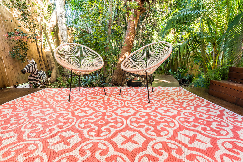 Outdoor Rug - Lisboa Pink and White