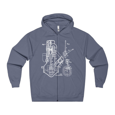1932 Diesel Engine Patent Drawing | Auto Mechanic, Old Car Guy Women's Zip Hoodie-Hoodie-AshoppingZ