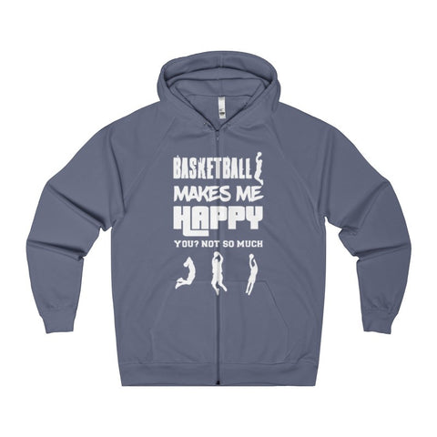 Basketball Makes Me Happy You? Not So Much Men's Zip Hoodie-Hoodie-AshoppingZ