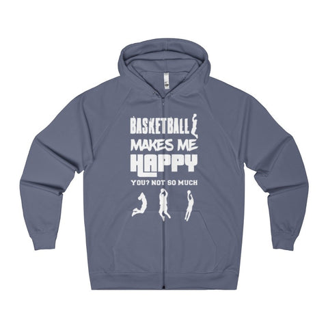 Basketball Makes Me Happy You? Not So Much Women's Zip Hoodie-Hoodie-AshoppingZ