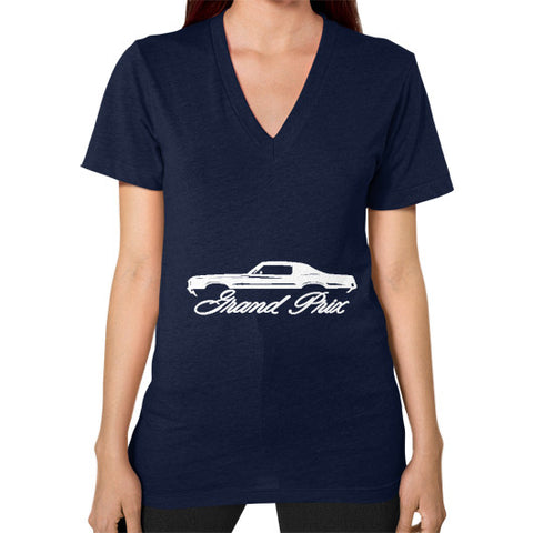 1969-72 Pontiac Grand Prix Classic Outline Design Women's V-Neck - AshoppingZ.com - 1
