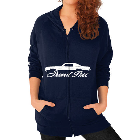 1969-72 Pontiac Grand Prix Classic Outline Design Women's Zip Hoodie - AshoppingZ.com - 1