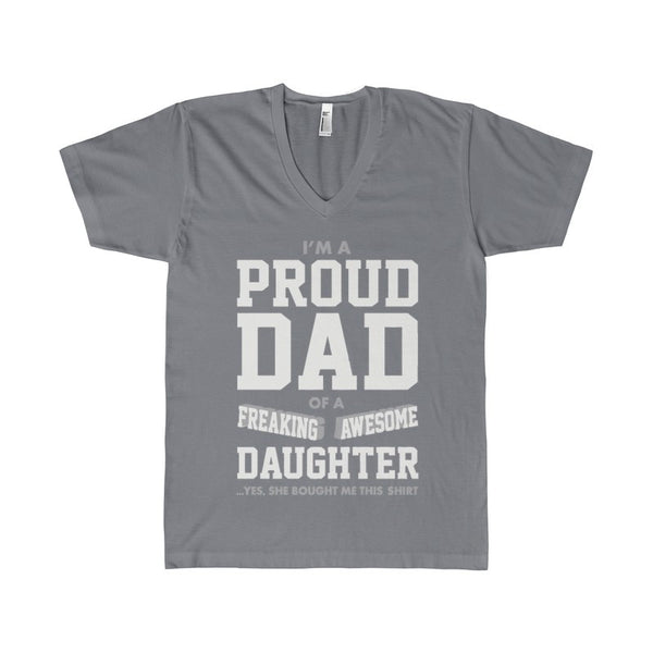Proud Dad Of A Freaking Awesome Daughter Funny Gift for Dads Women's V-Neck-V-neck-AshoppingZ