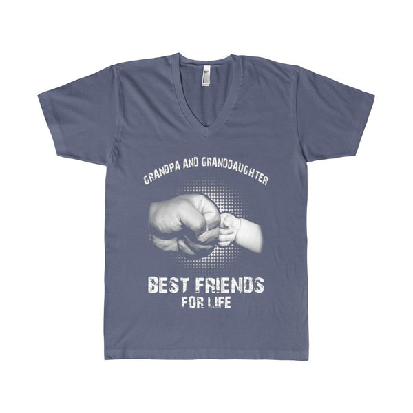 Grandpa and Granddaughter best friend for life Men's V-Neck-V-neck-AshoppingZ