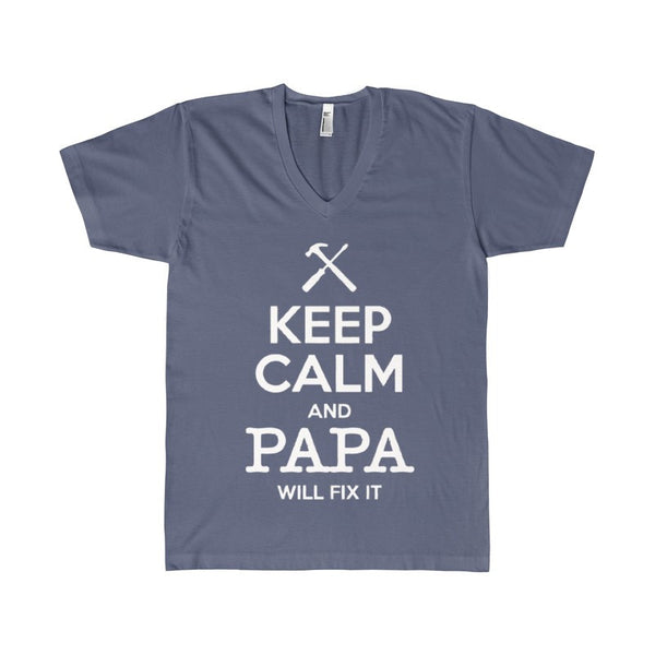 Keep Calm and Papa Will Fix It Men's V-Neck-V-neck-AshoppingZ