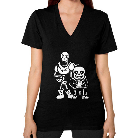 2 Characters RPG Retro 8-Bit Pixel Women's V-Neck Black AshoppingZ.com