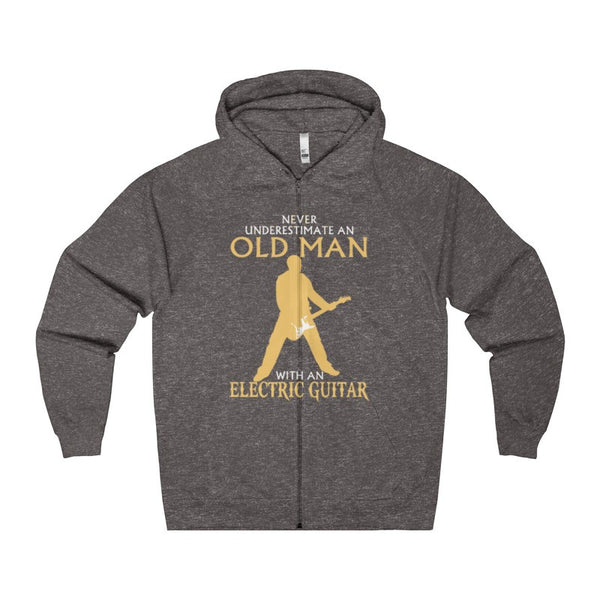 Old Man With An Electric Guitar Men's Zip Hoodie-Hoodie-AshoppingZ