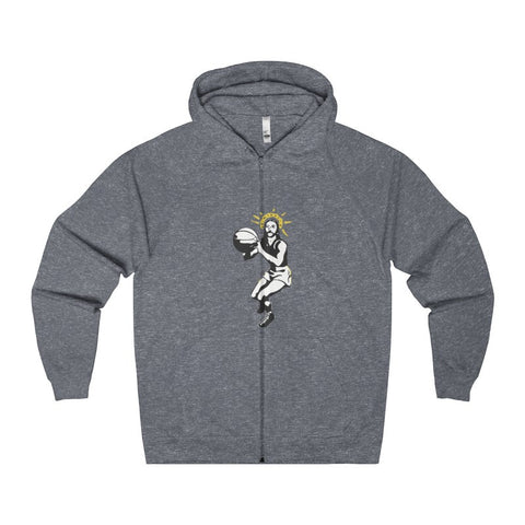 Basketball Jesus Men's Zip Hoodie-Hoodie-AshoppingZ