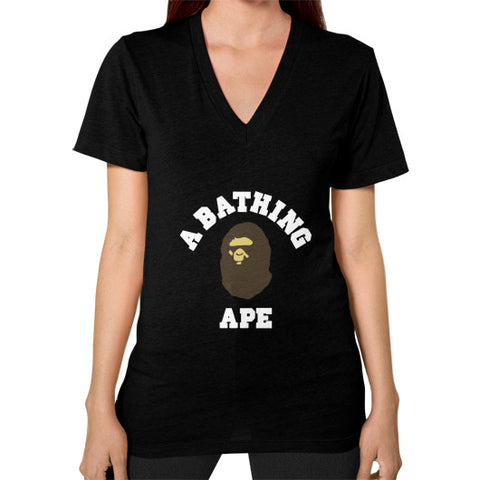 ABATHING APE Women's V-Neck Black AshoppingZ.com