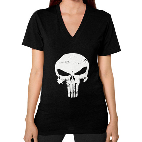 Alter Ego Punisher Women's V-Neck Black AshoppingZ.com