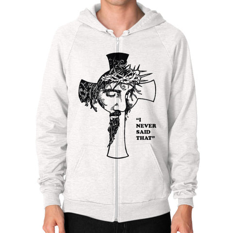 """I never said that"" - Jesus Christ Men's Zip Hoodie Tri-Blend Oatmeal AshoppingZ.com"