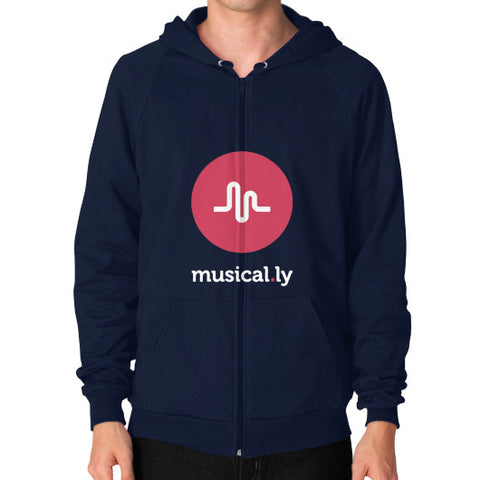 'musical.ly fan' Men's Zip Hoodie Navy AshoppingZ.com