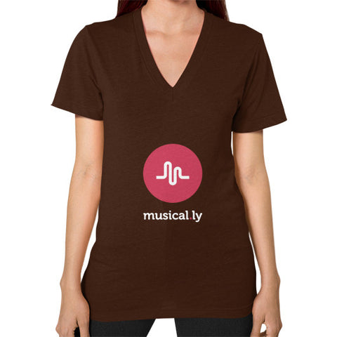 'musical.ly fan' Women's V-Neck Brown AshoppingZ.com
