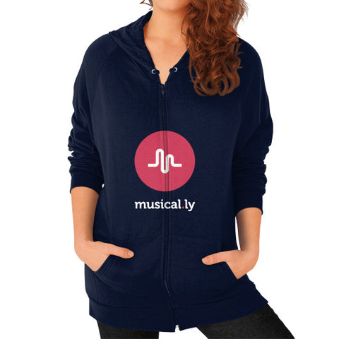 'musical.ly fan' Women's Zip Hoodie Navy AshoppingZ.com
