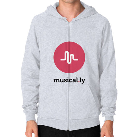 'musical.ly' Men's Zip Hoodie Heather grey AshoppingZ.com