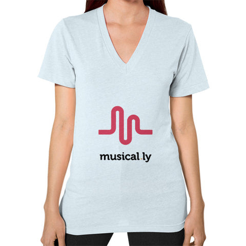 'musical.ly' Women's V-Neck Light blue AshoppingZ.com