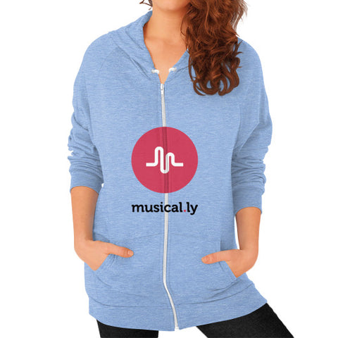 'musical.ly' Women's Zip Hoodie Tri-Blend Blue AshoppingZ.com