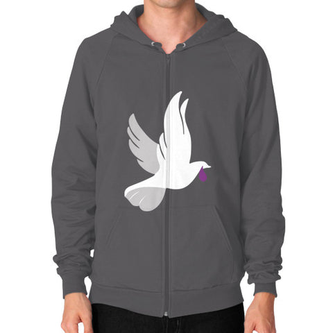 """When Doves Shed Purple Tears or Cry Rain"" Men's Zip Hoodie Asphalt AshoppingZ.com"