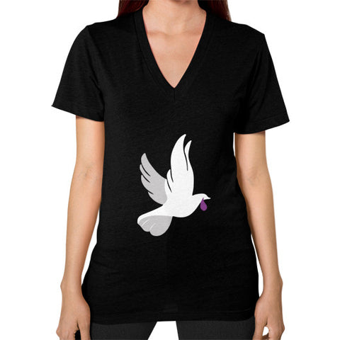 """When Doves Shed Purple Tears or Cry Rain"" Women's V-Neck Black AshoppingZ.com"