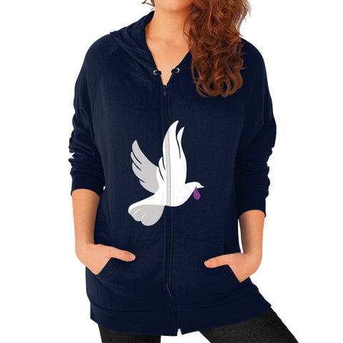 """When Doves Shed Purple Tears or Cry Rain"" Women's Zip Hoodie Navy AshoppingZ.com"