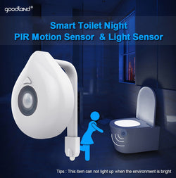 LED Toilet Seat Night Light Motion Sensor 8 Colour
