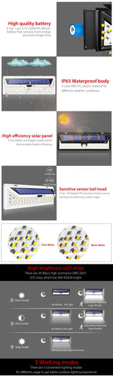 66 LED Wall Solar Lights, PIR Motion Sensor Waterproof IP65