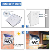 Solar Powered House Number Plaque Light with Motion Sensor