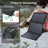 21W Solar Panel Charger Foldable Waterproof LED Display Dual USB 5V/4A Output for Smart Phones & IPad