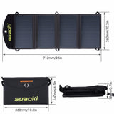 25W Portable Solar Panels Foldable Waterproof Dual 5V/2.1A USB Charger for Power Bank