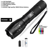 Super Bright LED Torch 5 Switch Modes Zoomable