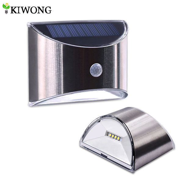 LED Solar Power Wall Light PIR Motion Sensor Waterproof Stainless Steel Cover