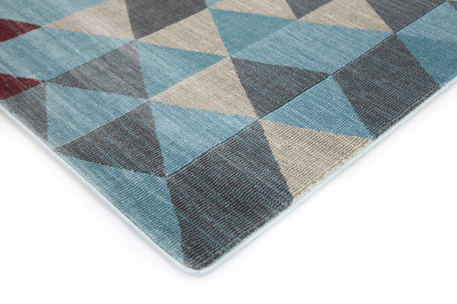 Pomona Geometric Triangles Blue Rug