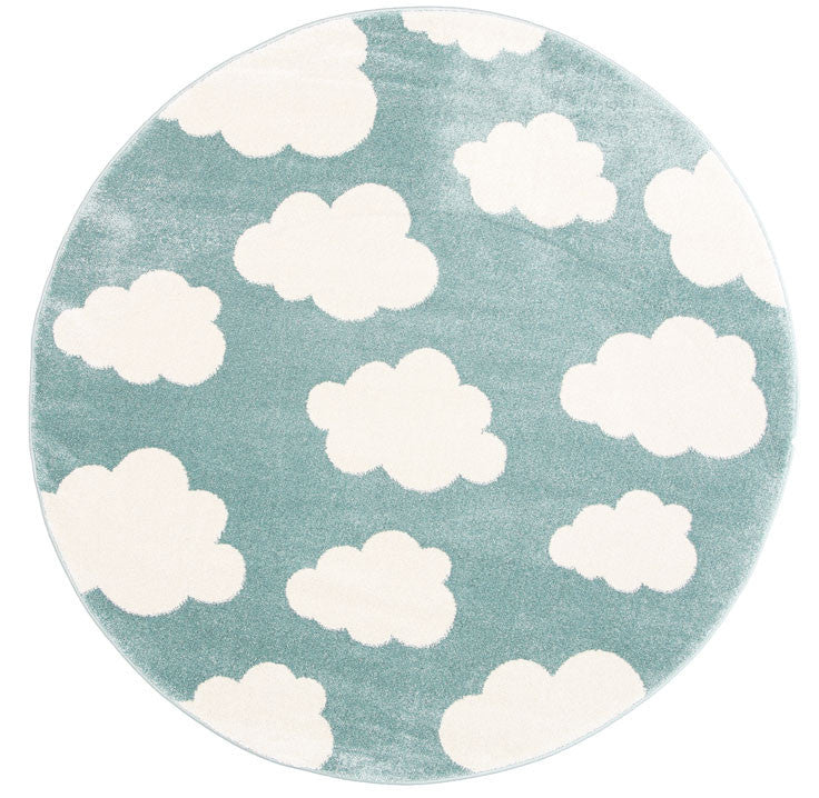 Bodhi Cloud Aqua White Rug