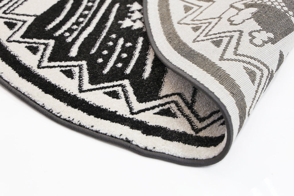 Bodhi Black White Kids Camping Adventure Rug