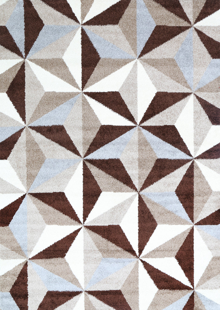 Piper Cubism Triangles Geometric Brown Beige Rug