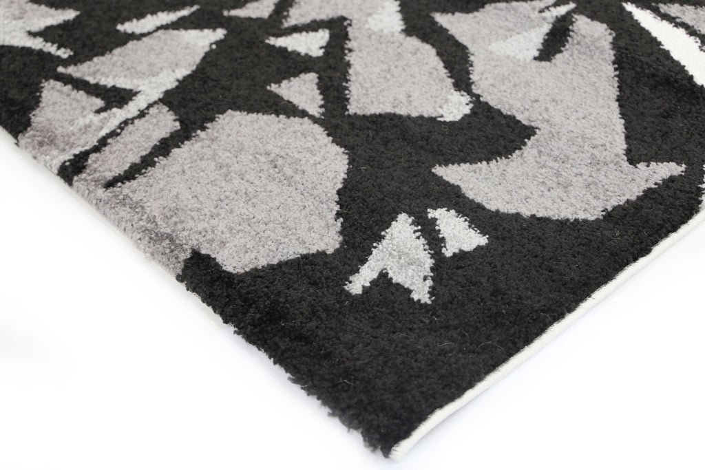Piper Swirls Waves Grey Black Rug